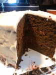 Devils food cake with raspberry filling and caveman icing (see raspberry devils food cupcake recipe)