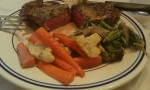 Filet au Poivre, roasted carrots & cauliflower, sautéed asparagus & shallots
