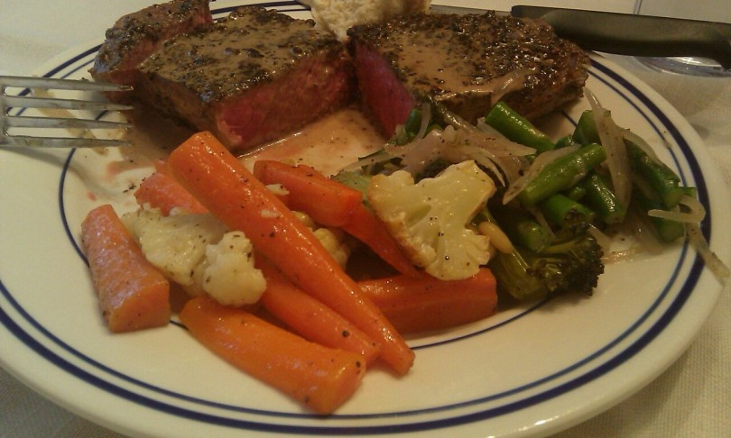 Filet au Poivre, roasted carrots & cauliflower, sautéed asparagus ...