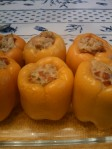 Green chile chicken stuffed peppers