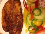 Pan seared tilapia with cucumber slaw
