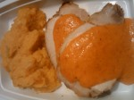 Roasted pork loin with roasted red pepper sauce and mirepoix celery root puree