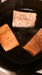 Finish off your wild fish (here cod and sockeye salmon) by steaming lemon juice in the pan.