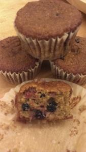 Paleo strawberry blueberry muffins