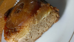 Perfect slice of paleo pineapple upside down cake