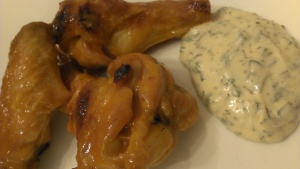 Paleo buffalo wings with paleo ranch dipping sauce