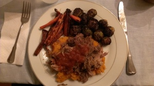 Whole30 pulled pork over mashed sweet potato with oven roasted carrots and brussels sprouts