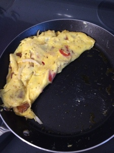 Whole 30 pepper, onion, chorizo omelette