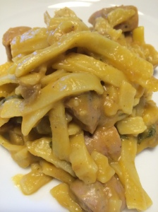 Paleo butternut squash fettuccine with chicken apple sausage