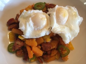 Paleo and Whole 30 chorizo breakfast hash with poached eggs