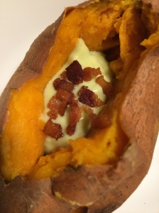 Paleo and Whole 30 loaded baked sweet potato
