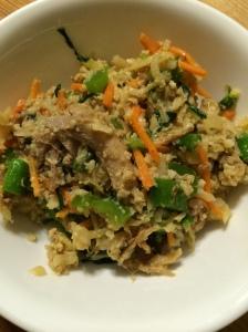 Paleo and whole 30 pork fried cauliflower rice.
