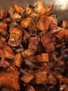 Balsamic onion sweet potatoes