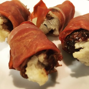 Whole30 prosciutto wrapped stuffed dates