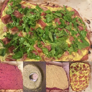 Paleo pizza: almond sweet potato crust, roasted garlic leek sauce, prosciutto, and lemon olive oil arugula